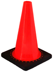 Cortina 03-500-09 Orange Cones with Black Base, 12
