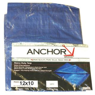 Anchor Brand 10 foot by 12 foot Polyethylene Blue Tarp