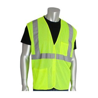 PIP ANSI Type R Class 2 Two Pocket Value Lime Mesh Vest