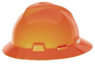 MSA V-Gard Slotted Full-Brim Hi-Viz Orange Hard Hat with Fas-Trac III Suspension