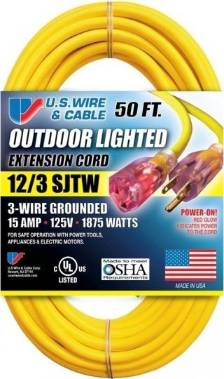 Outdoor Lighted Extension Cord - 12/3 SJTW - 300V - 15A - 1875W - 50'