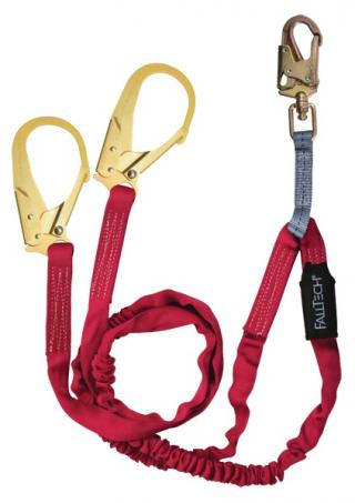 FallTech 12 Foot Ironman Twin Leg Lanyard with Steel Rebar Hooks