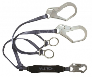 FallTech ViewPack Tie-Back Twin Leg Lanyard with Steel Rebar Hooks