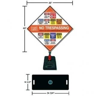 Construction Job Site Safety Sign with Custom Logo and Portable Base