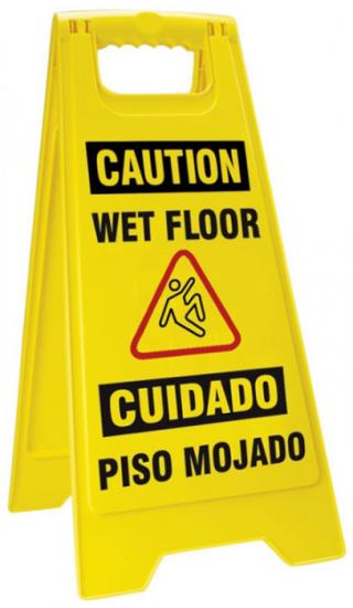 Accuform Bilingual Caution Fold-Ups: Wet Floor Sign