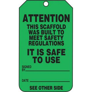 Accuform Scaffold Status Safety Tag: Attention- This Scaffold Was Built To Meet Safety Regulations (5 Pack)