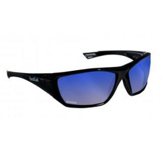 Bolle Hustler Safety Glasses with Polarized Blue Mirror Lens and Black Frame