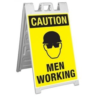 GME Supply Caution Men Working Fold Up Job Site Sign