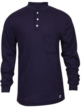 National Safety Apparel FR Classic Cotton Navy Henley Shirt