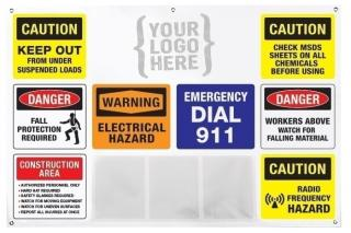 Job Site Safety Banner with 3 Pockets and Custom Logo