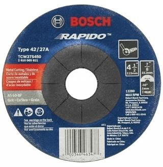 Bosch 4-1/2 in 60 Grit Rapido Arbor Type 27A Metal Cutting Abrasive Wheel