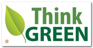 Think Green' Motivational Workplace Banner - Leaf