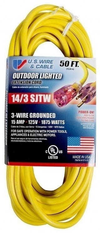 US Wire and Cable SJTW 14/3 Extension Cord - 50 Feet