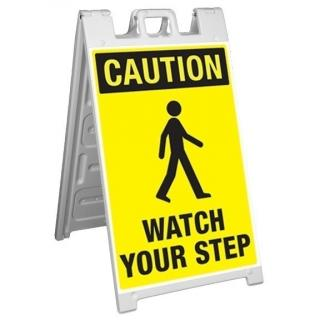 GME Supply Caution Watch Your Step Fold Up Job Site Sign