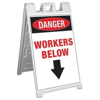 GME Supply Danger Workers Below Fold Up Job Site Sign