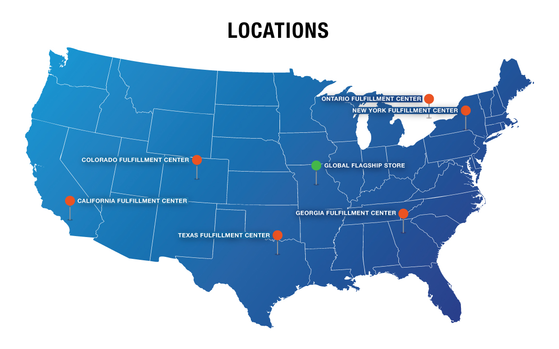 GME Supply has store front distribution in 4 locations and nearly a dozen distribute warehouses across the United States