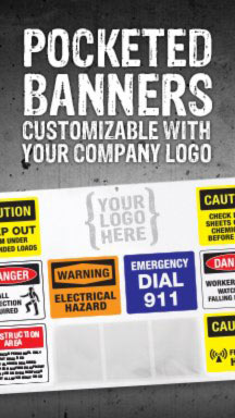Pocketed Banners Customizable with your Company Logo from GME Supply