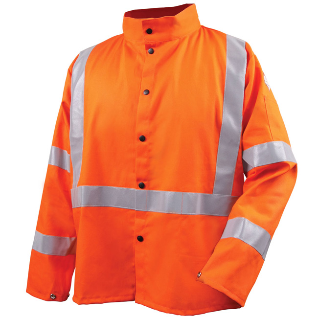 Black Stallion Safety Welding Jacket with FR Reflective Tape, Safety Orange from GME Supply