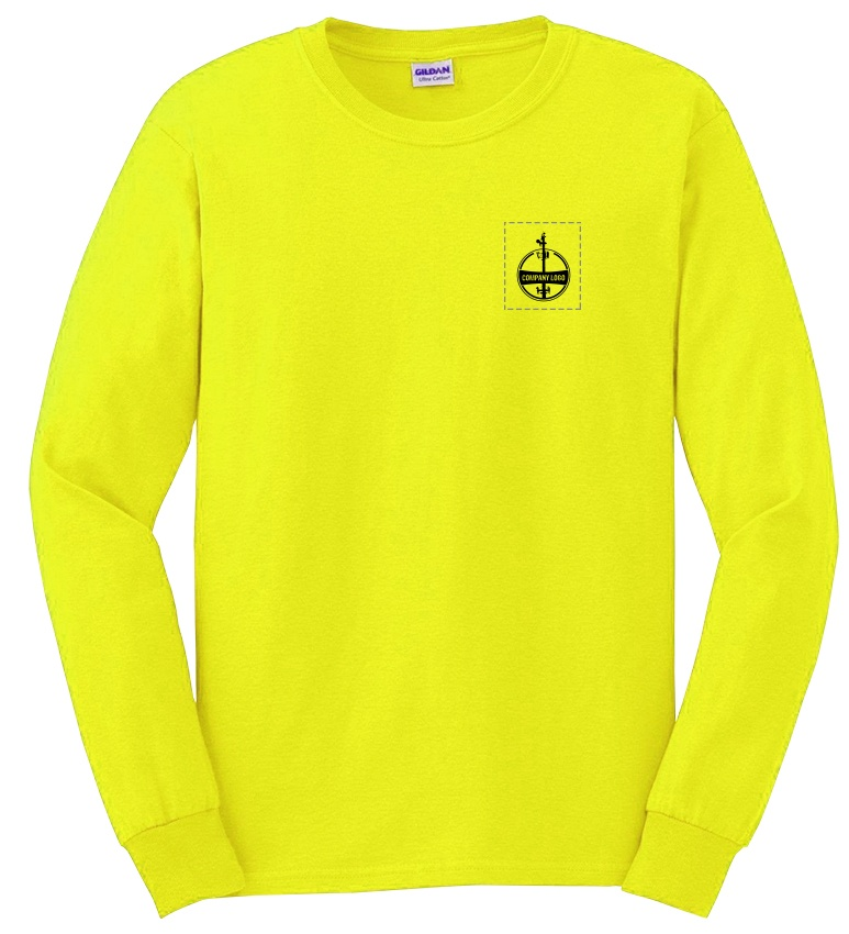Custom Company Logo Hi-Vis Yellow Long Sleeve T-Shirt from GME Supply