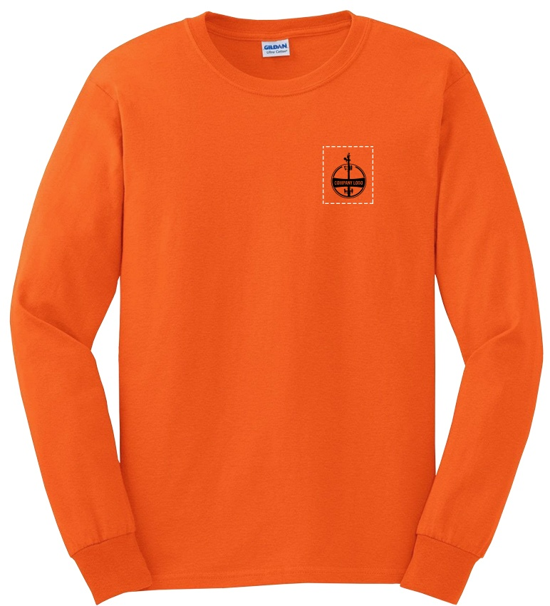 Custom Company Logo Hi-Vis Orange Long Sleeve T-Shirt from GME Supply