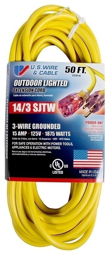 US Wire and Cable SJTW 14/3 Extension Cord - 50 Feet from GME Supply