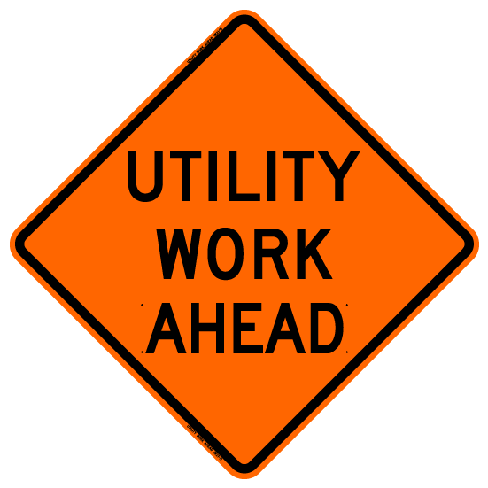 Bone Safety 'Utility Work Ahead' Sign from GME Supply