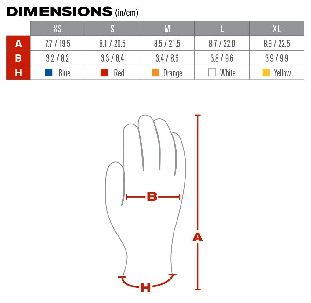 MaxiFlex 34-244 Elite Nylon Gloves with Micro Dot Palm (12 Pair) - Sizing Chart
