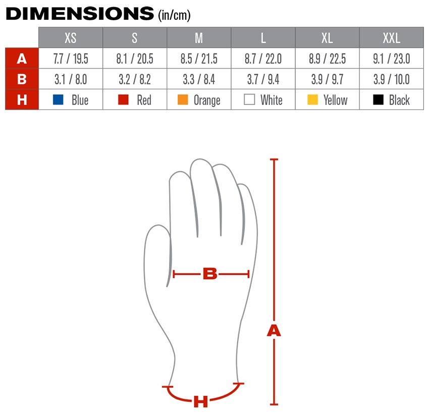 MaxiFlex Elite Nylon Gloves (12 Pair) - Sizing Chart